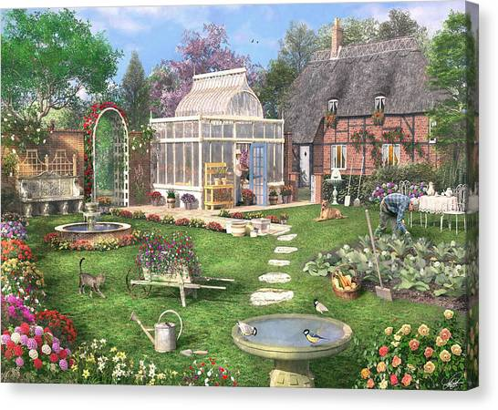 Greenhouses Canvas Print - The Cottage Garden by Dominic Davison