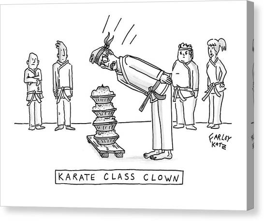 Karate Canvas Print - Karate Class Clown by Farley Katz