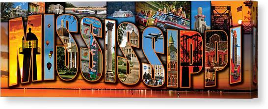 12 X 36 Horizontal Mississippi Postcard Version 1 Canvas Print