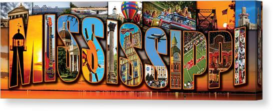 12 X 36 Horizontal Mississippi Postcard Version 2 Canvas Print