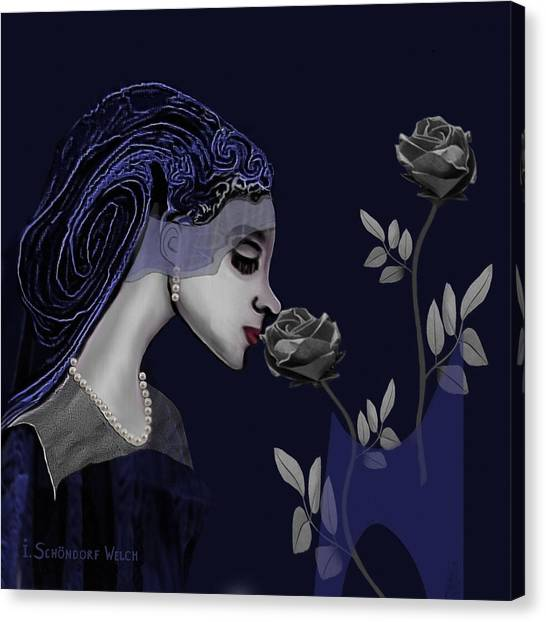 126 - A Young Woman With Roses ... Canvas Print