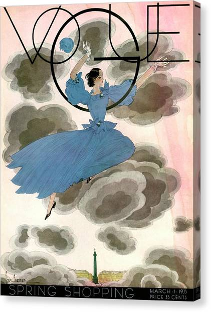 A Vintage Vogue Magazine Cover Of A Woman Canvas Print by Georges Lepape