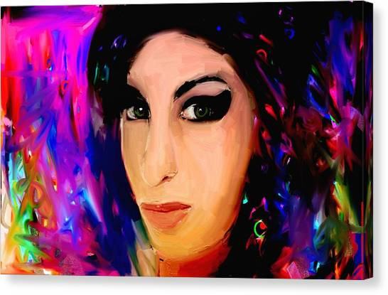 Amy Winehouse Canvas Print by Bogdan Floridana Oana