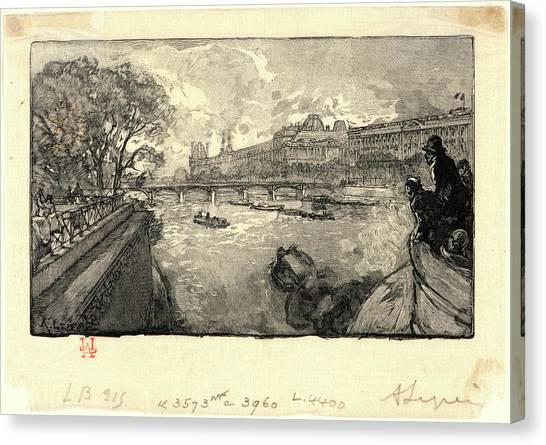 Le Louvre Canvas Print - Auguste Louis Lepère French by Litz Collection