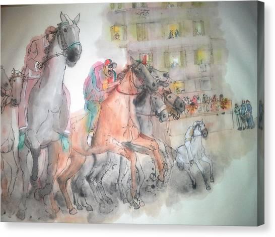 Italian Il Palio Horse Race Album Canvas Print
