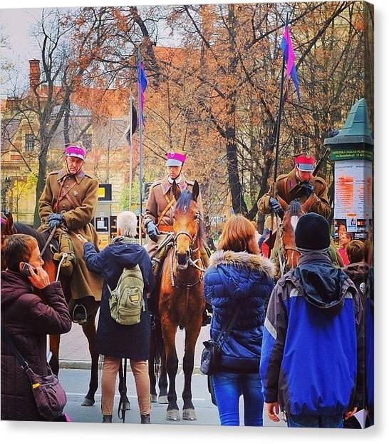 Soldiers Canvas Print - Krakow,poland.11.11.2013 #wu_russia by Grigorii Arzhanykh