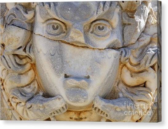 Gorgons Canvas Print - Sculpted Medusa Head At The Forum Of Severus At Leptis Magna In Libya by Robert Preston