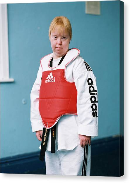 Taekwondo Canvas Print - Woman With Down's Syndrome by Joti/science Photo Library