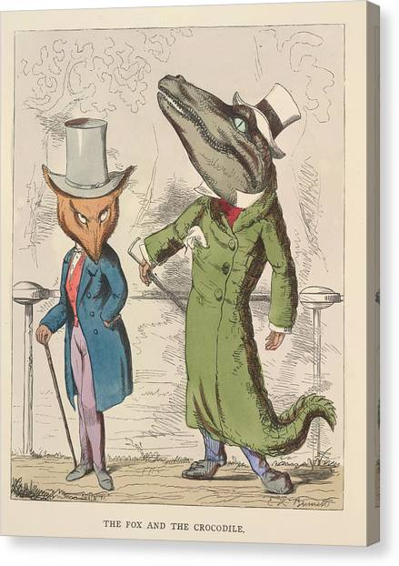 Crocodiles Canvas Print - Aesop Fables by British Library