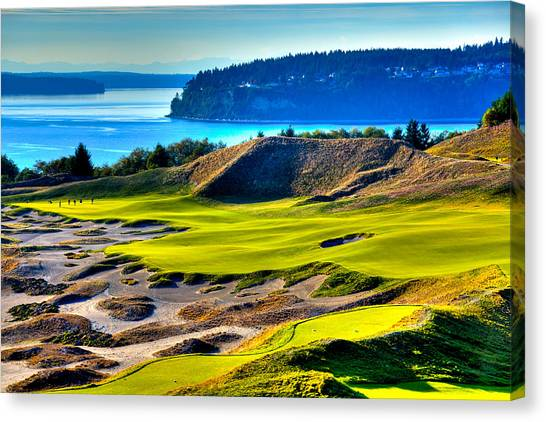 Golf Course Canvas Print - #14 At Chambers Bay Golf Course - Location Of The 2015 U.s. Open Tournament by David Patterson