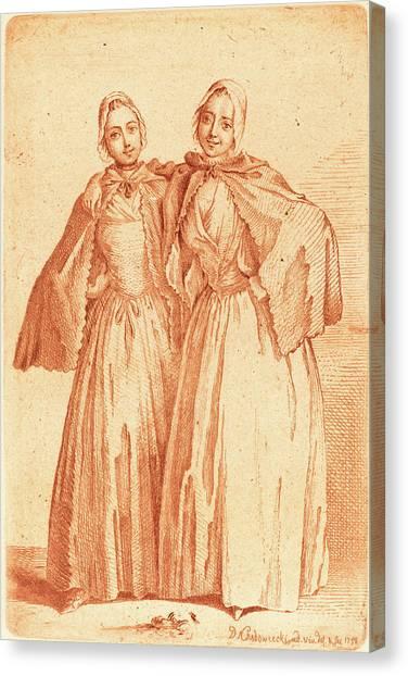 Demoiselles Canvas Print - Daniel Nikolaus Chodowiecki German, 1726 - 1801 by Quint Lox