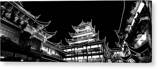 Shanghai Skyline Canvas Print - Low Angle View Of Buildings Lit by Panoramic Images