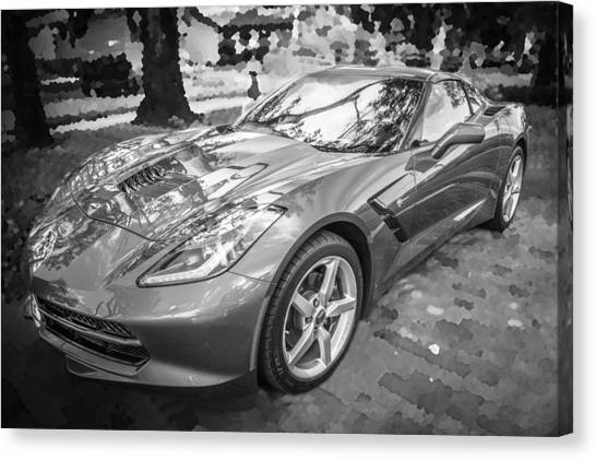 2014 Chevrolet Corvette C7 Bw   Canvas Print