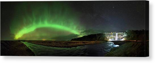 Seljalandsfoss Canvas Print - Aurora Borealis by Babak Tafreshi