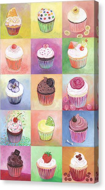 Cakes Canvas Print - 15 Cupcakes by Jennifer Lommers