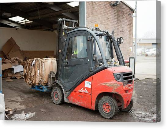 Forklifts Canvas Print - Recycling Centre Workplace Charity by Lewis Houghton/science Photo Library