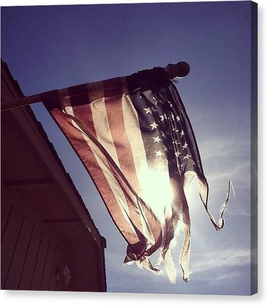 United States Of America Canvas Print - Waving America Flag by Muhammed Kilic