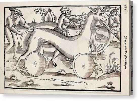 Early Middle Ages Canvas Print - 1532 A War Machine In The Form Of A Horse by Paul D Stewart