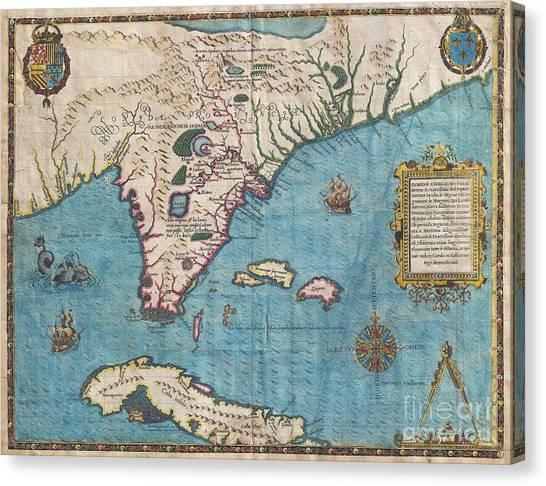 1591 De Bry And Le Moyne Map Of Florida And Cuba Canvas Print