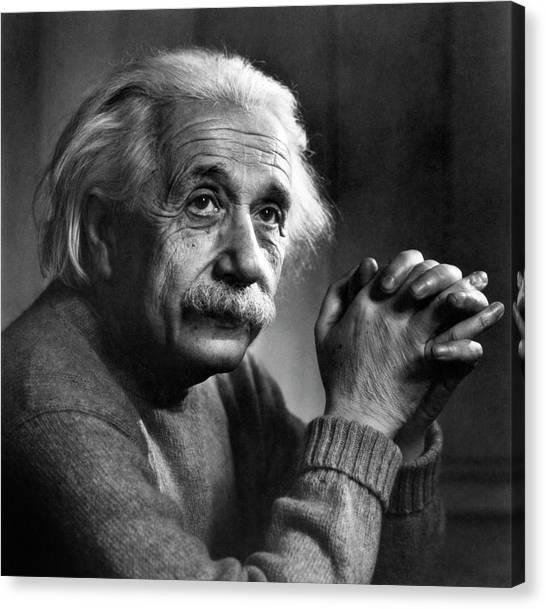 Albert Einstein Canvas Print by Emilio Segre Visual Archives/american Institute Of Physics