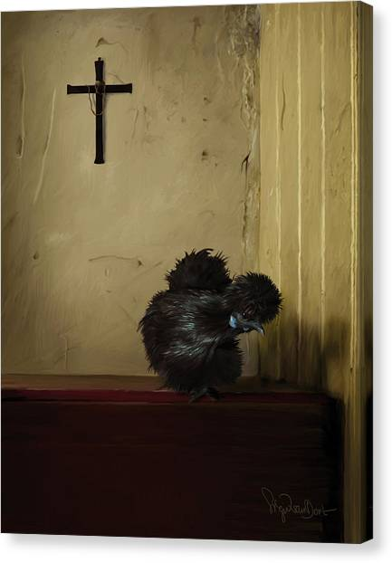 16. Black Silkie Canvas Print
