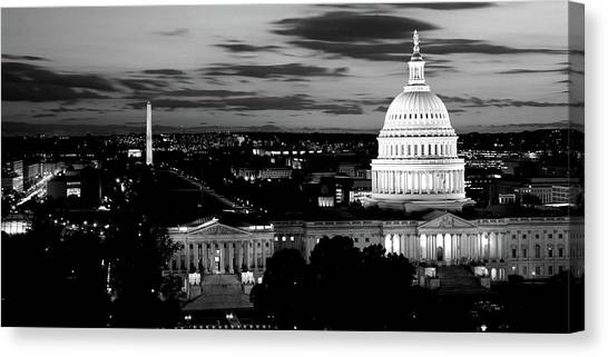 Capitol Building Canvas Print - High Angle View Of A City Lit by Panoramic Images