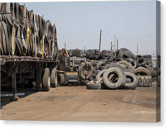 Forklifts Canvas Print - Recycling Centre by Jim West/science Photo Library