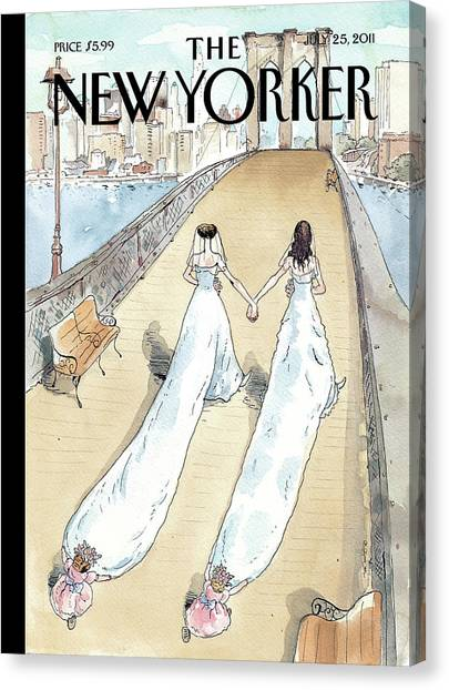 Bride Canvas Print - New Yorker July 25th, 2011 by Barry Blitt