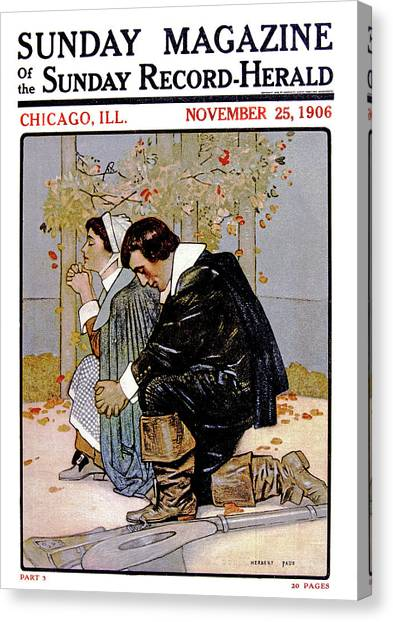 Serenity Prayer Canvas Print - 1600s Pilgrim Couple Kneeling In Prayer by Vintage Images