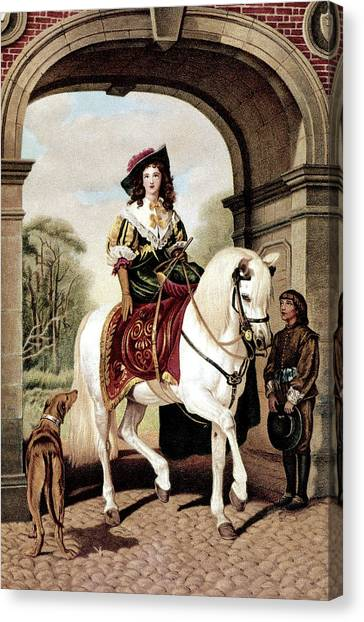 Landseer Canvas Print - 1600s Woman Riding Sidesaddle Painting by Vintage Images