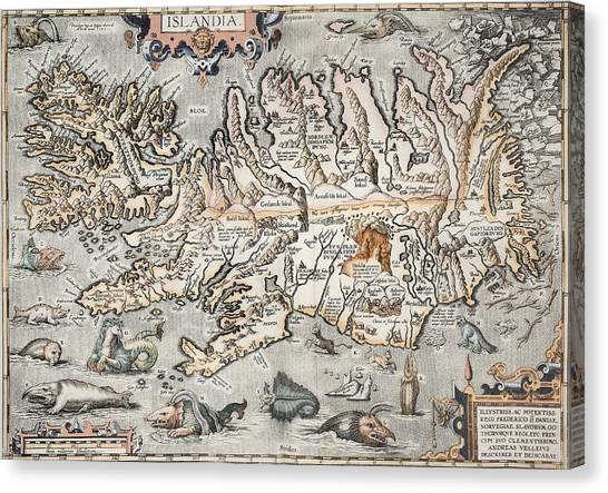 1603 Ortelius Iceland Monster Map Canvas Print by Paul D Stewart