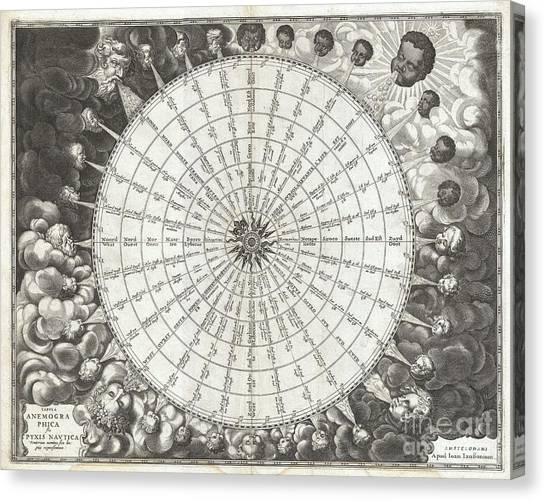 1650 Jansson Wind Rose Anemographic Chart Or Map Of The Winds Canvas Print