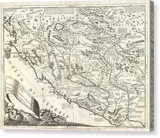 1690 Coronelli Map Of Montenegro Canvas Print