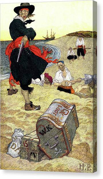 Buried Canvas Print - 1690s Illustration Pirates On Beach by Vintage Images