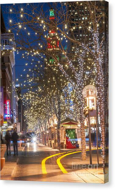 Mall Canvas Print - 16th Street Mall In Denver Holiday Time by Juli Scalzi