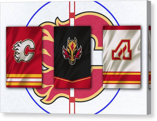 Calgary Flames Canvas Print - Calgary Flames by Joe Hamilton