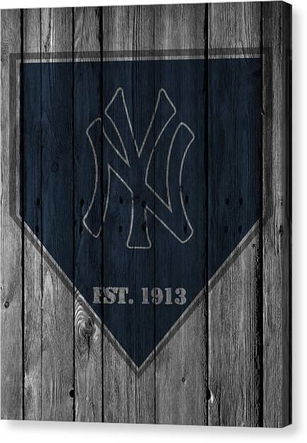 Bases Canvas Print - New York Yankees by Joe Hamilton