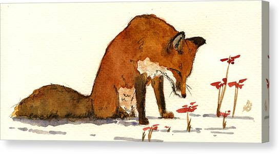 Small Mammals Canvas Print - Red Fox by Juan  Bosco