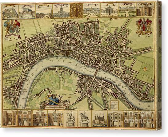 17 Th Century Map Of London England Canvas Print