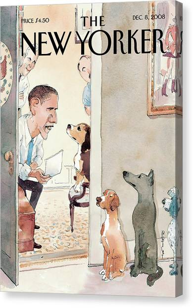 President Canvas Print - New Yorker December 8th, 2008 by Barry Blitt