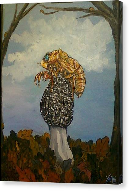 17 Year Cicada With Morel Canvas Print