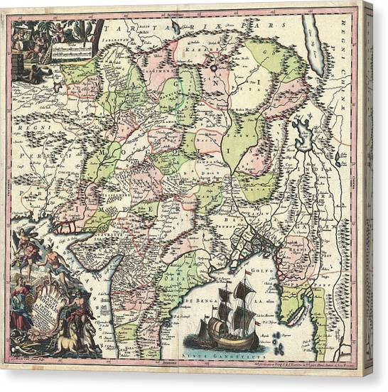 1700 Map Of India Canvas Print