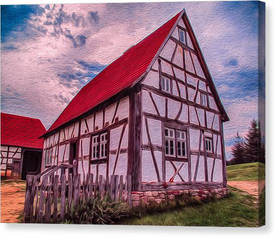 Canvas Print featuring the painting 1700s German Farm by Omaste Witkowski