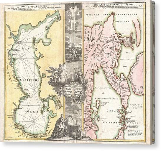 1725 Homann Map Of The Caspian Sea And Kamchatka Canvas Print by Paul Fearn
