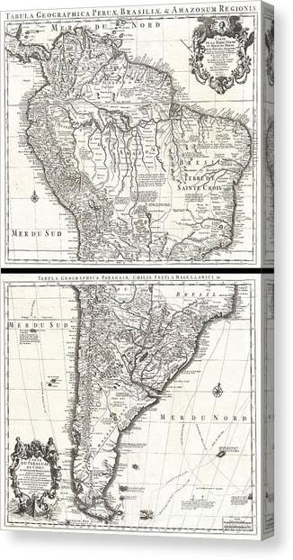 The Pantanal Canvas Print - 1730 Covens And Mortier Map Of South America by Paul Fearn
