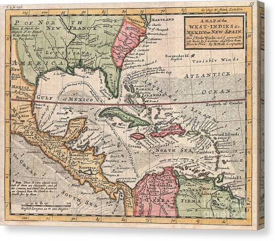 1732 Herman Moll Map Of The West Indies And Caribbean Canvas Print