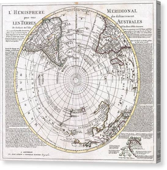 The Pantanal Canvas Print - 1741 Covens And Mortier Map Of The Southern Hemisphere South Pole Antarctic by Paul Fearn