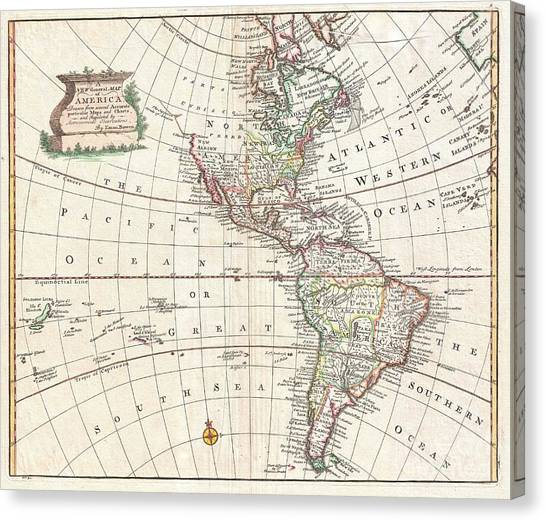 The Pantanal Canvas Print - 1747 Bowen Map Of North America And South America by Paul Fearn