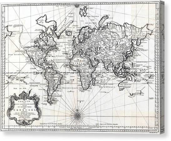 1748 Antique World Map Versuch Von Einer Kurzgefassten Karte  Canvas Print