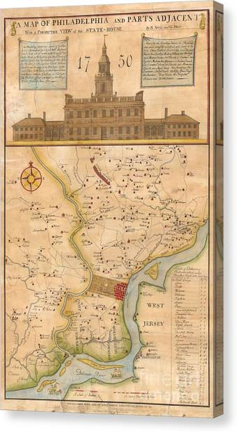 1752  Scull  Heap Map Of Philadelphia And Environs Canvas Print